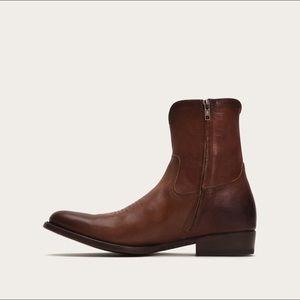 Frye Austin Side Zip Western Boots 10 Whiskey